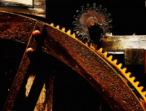 The waterwheel, ring gear and pinion gear