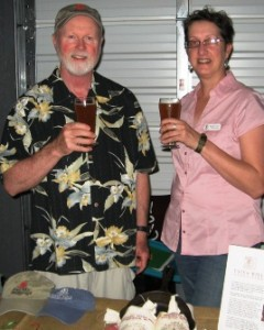 Robbins and Lillard with Raleigh Brewing beer