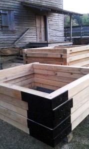 Forebay frames on-site, waiting to be put in place.
